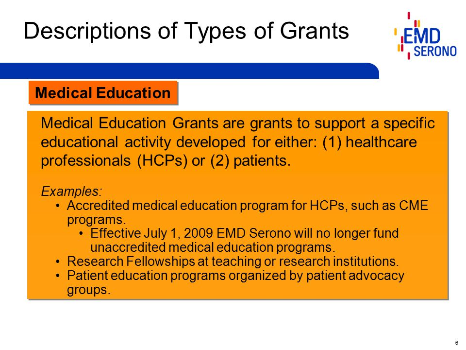 27 Requirements for Medical Education Grants 1.