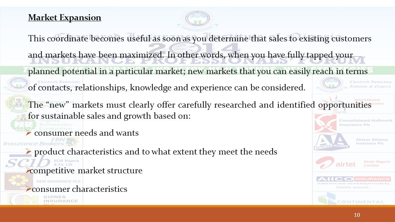 10 Market Expansion This coordinate becomes useful as soon as you determine that sales to existing customers and markets have been maximized. In other