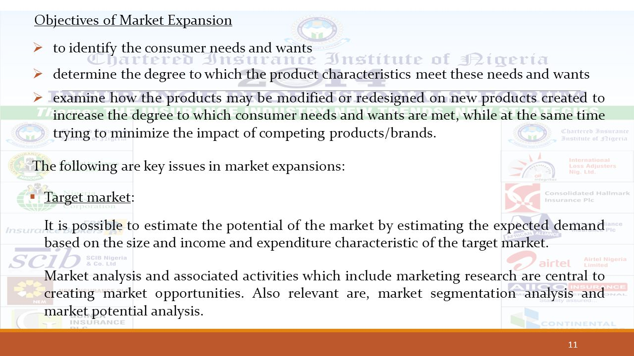 11 Objectives of Market Expansion  to identify the consumer needs and wants  determine the degree to which the product characteristics meet these ne