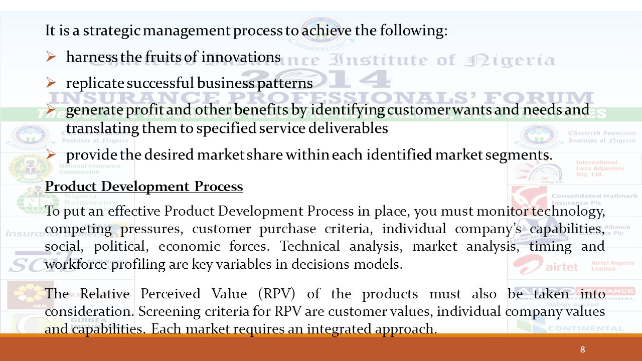 8 It is a strategic management process to achieve the following:  harness the fruits of innovations  replicate successful business patterns  genera
