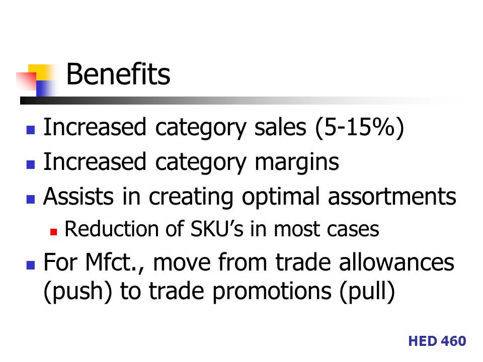 HED 460 Benefits Increased category sales (5-15%) Increased category margins Assists in creating optimal assortments Reduction of SKU's in most cases For Mfct., move from trade allowances (push) to trade promotions (pull)