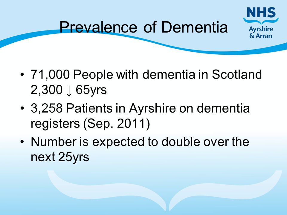 Prevalence of Dementia 71,000 People with dementia in Scotland 2,300 ↓ 65yrs 3,258 Patients in Ayrshire on dementia registers (Sep. 2011) Number is ex