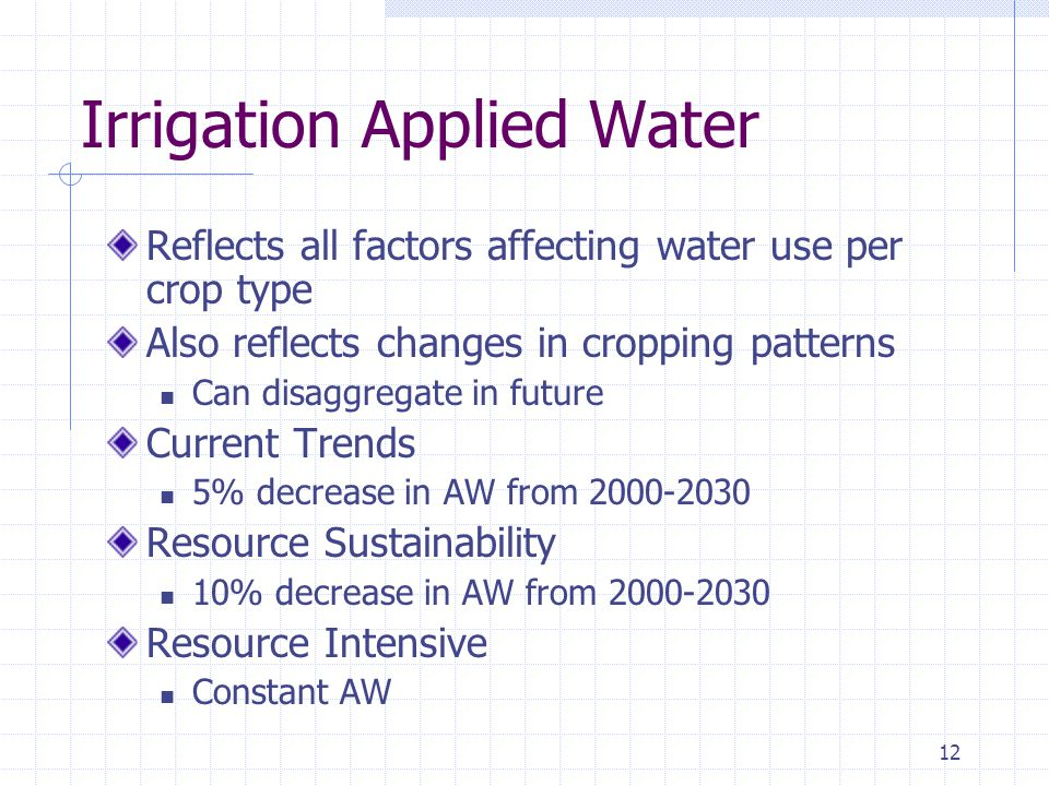 12 Irrigation Applied Water Reflects all factors affecting water use per crop type Also reflects changes in cropping patterns Can disaggregate in futu