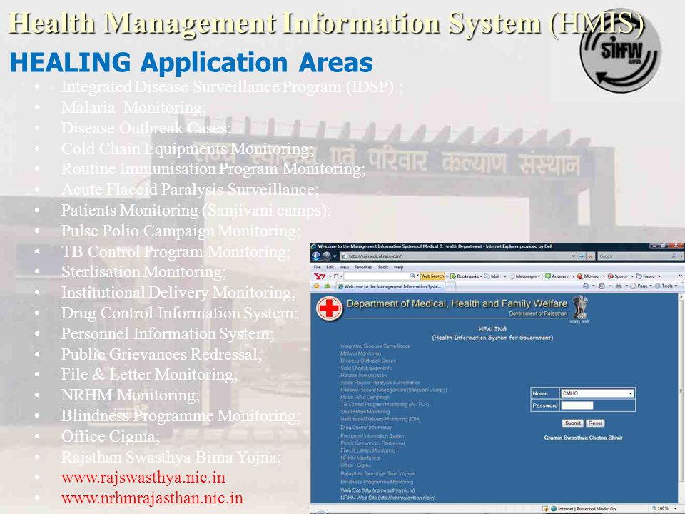 Health Management Information System (HMIS) HEALING Application Areas Integrated Disease Surveillance Program (IDSP) ; Malaria Monitoring; Disease Out
