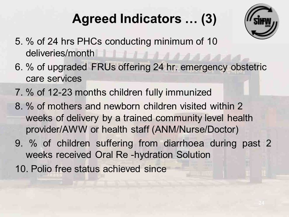24 Agreed Indicators … (3) 5. % of 24 hrs PHCs conducting minimum of 10 deliveries/month 6. % of upgraded FRUs offering 24 hr. emergency obstetric car