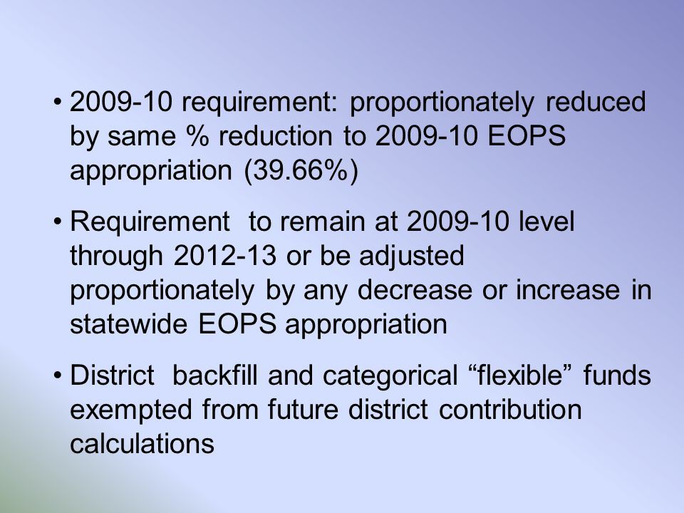 2009-10 requirement: proportionately reduced by same % reduction to 2009-10 EOPS appropriation (39.66%) Requirement to remain at 2009-10 level through 2012-13 or be adjusted proportionately by any decrease or increase in statewide EOPS appropriation District backfill and categorical flexible funds exempted from future district contribution calculations
