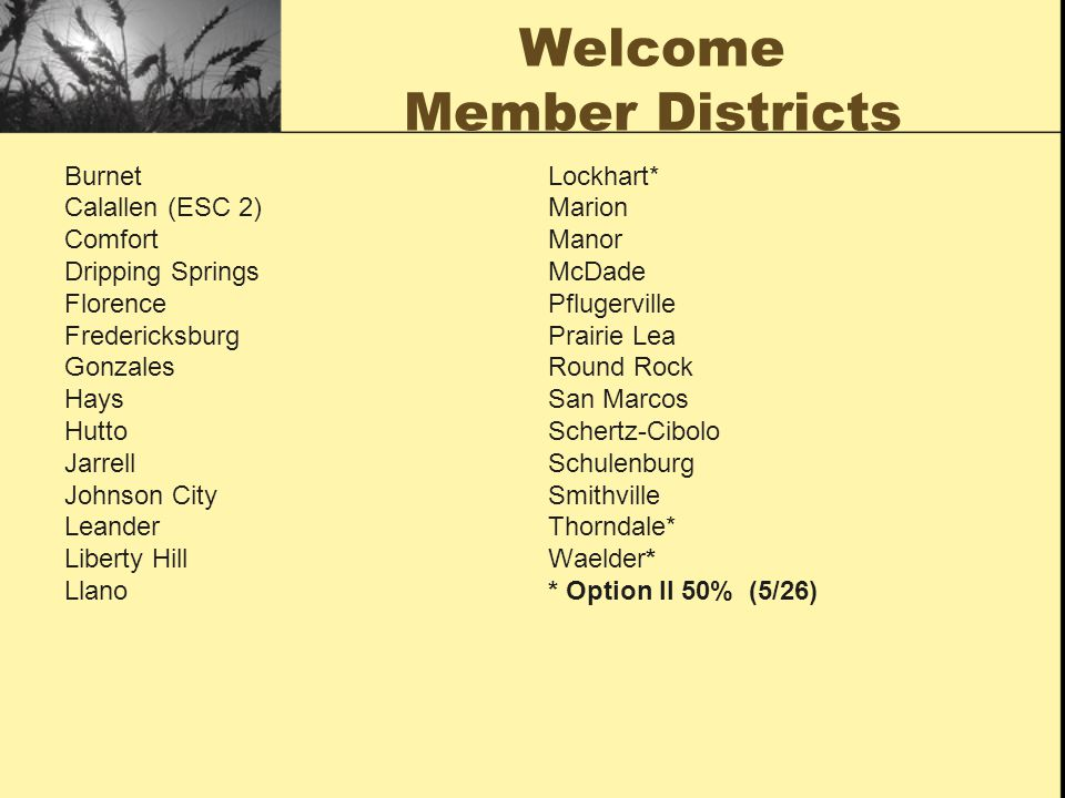 Welcome Member Districts Burnet Calallen (ESC 2) Comfort Dripping Springs Florence Fredericksburg Gonzales Hays Hutto Jarrell Johnson City Leander Lib