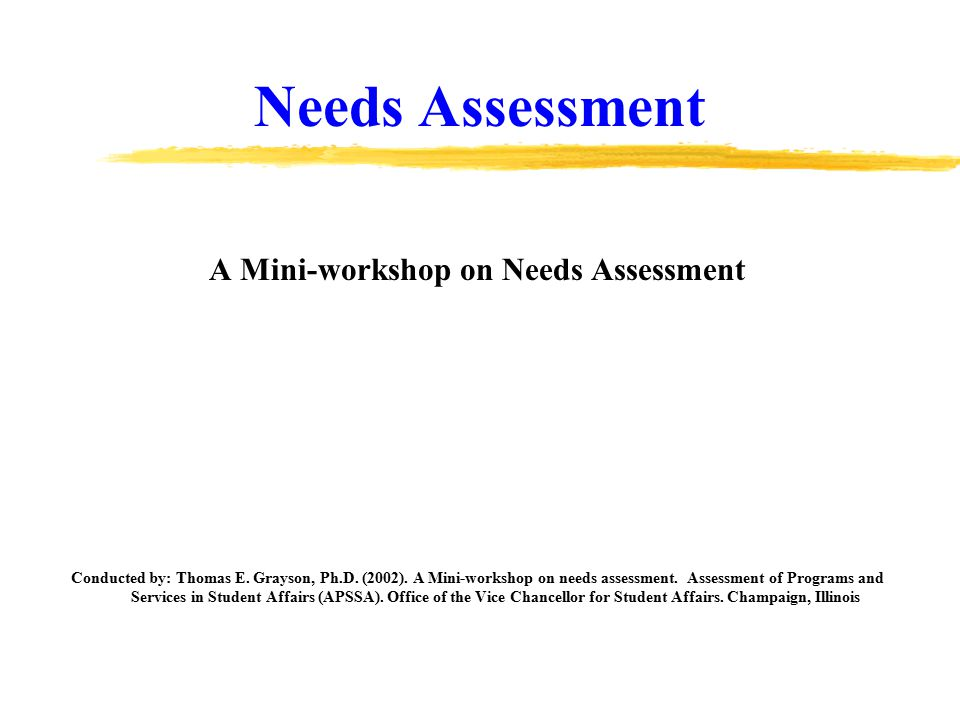 Needs Assessment A Mini-workshop on Needs Assessment Conducted by: Thomas E.