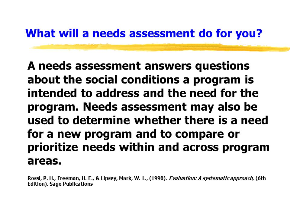 What will a needs assessment do for you.