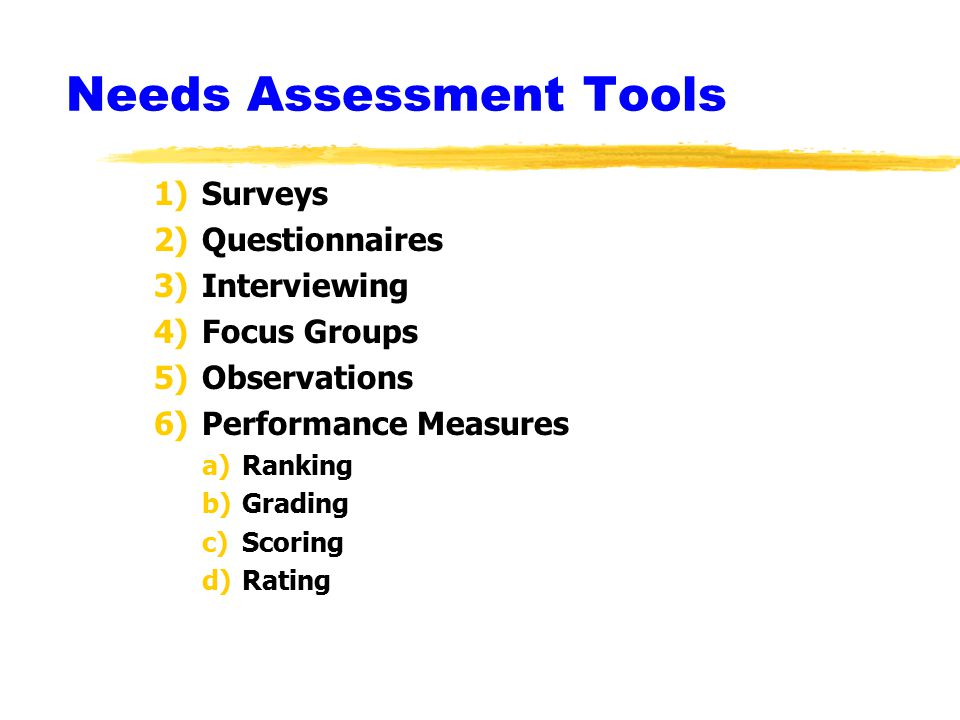 Needs Assessment - Conclusion Needs assessment is an essential tool in making sure that the programs that are offered are needed and that new interventions will meet an unaddressed need of students and other clients.