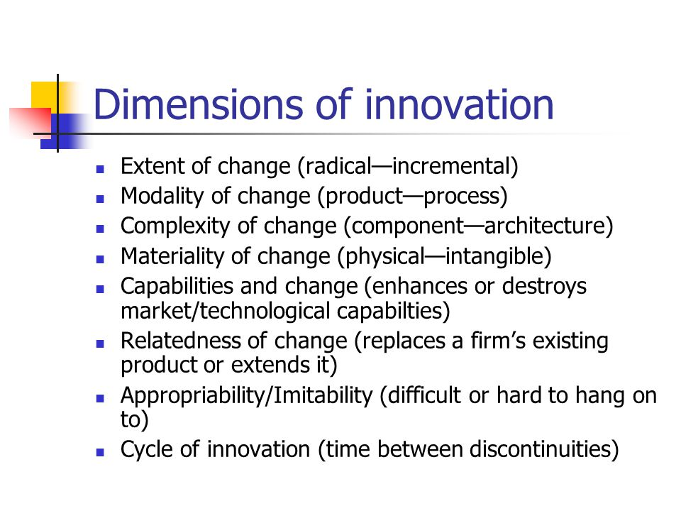 Dimensions of innovation Extent of change (radical—incremental) Modality of change (product—process) Complexity of change (component—architecture) Mat