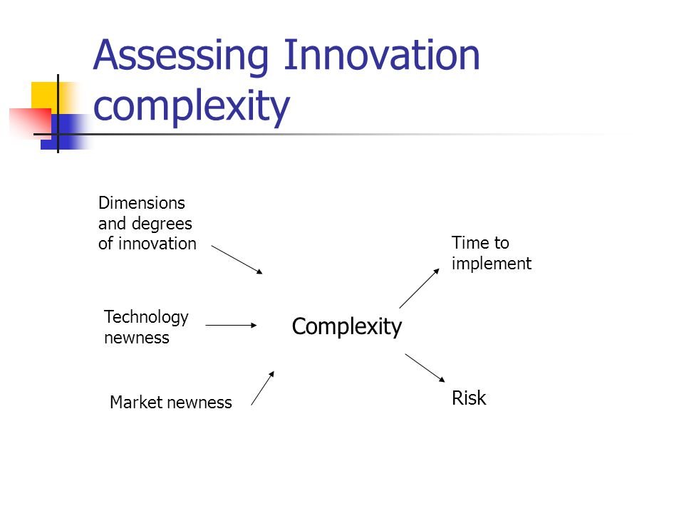 Assessing Innovation complexity Dimensions and degrees of innovation Technology newness Market newness Complexity Time to implement Risk