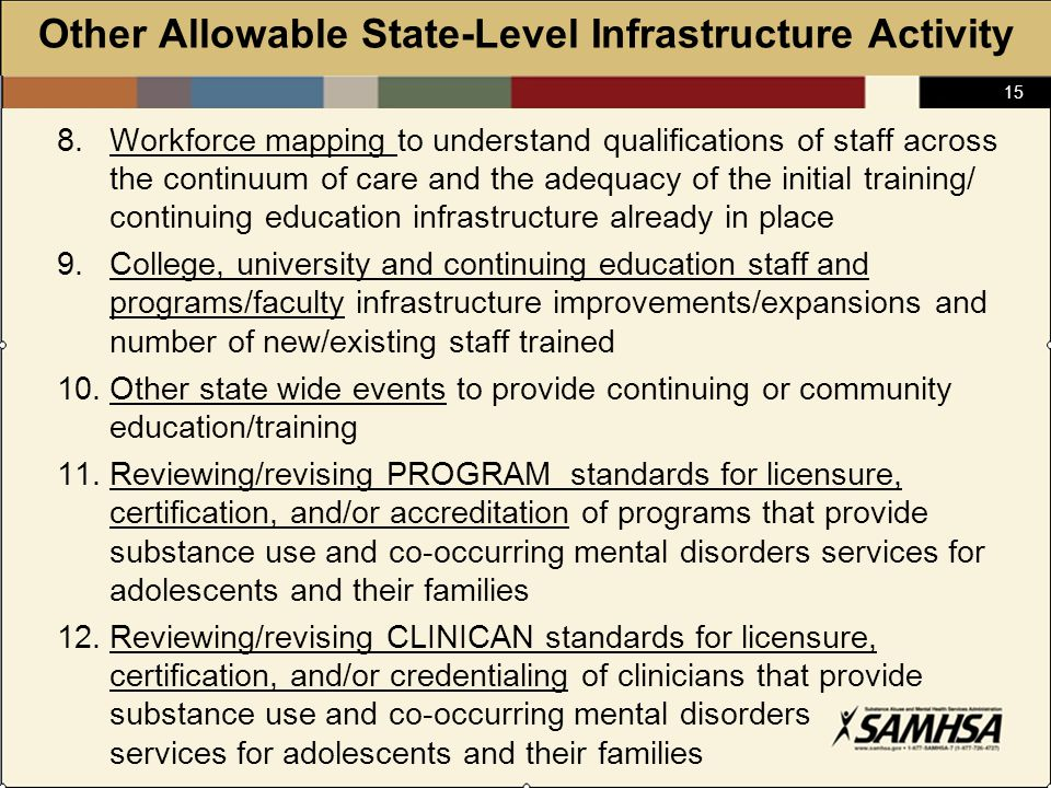 15 Other Allowable State-Level Infrastructure Activity 8.Workforce mapping to understand qualifications of staff across the continuum of care and the adequacy of the initial training/ continuing education infrastructure already in place 9.College, university and continuing education staff and programs/faculty infrastructure improvements/expansions and number of new/existing staff trained 10.Other state wide events to provide continuing or community education/training 11.Reviewing/revising PROGRAM standards for licensure, certification, and/or accreditation of programs that provide substance use and co-occurring mental disorders services for adolescents and their families 12.Reviewing/revising CLINICAN standards for licensure, certification, and/or credentialing of clinicians that provide substance use and co-occurring mental disorders services for adolescents and their families