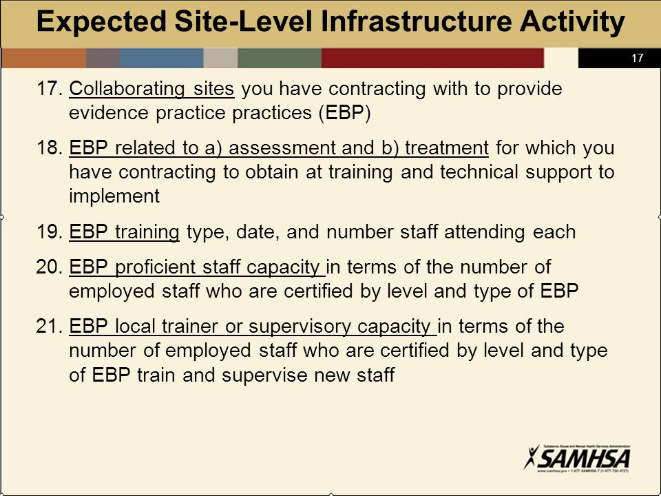 17 Expected Site-Level Infrastructure Activity 17.Collaborating sites you have contracting with to provide evidence practice practices (EBP) 18.EBP related to a) assessment and b) treatment for which you have contracting to obtain at training and technical support to implement 19.EBP training type, date, and number staff attending each 20.EBP proficient staff capacity in terms of the number of employed staff who are certified by level and type of EBP 21.EBP local trainer or supervisory capacity in terms of the number of employed staff who are certified by level and type of EBP train and supervise new staff