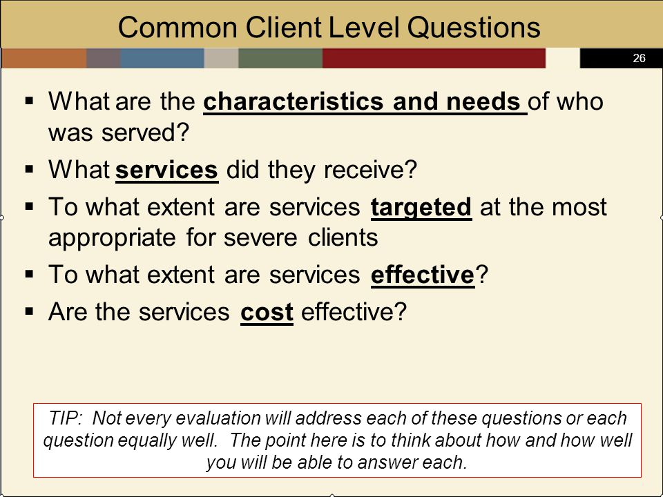 26 Common Client Level Questions  What are the characteristics and needs of who was served.