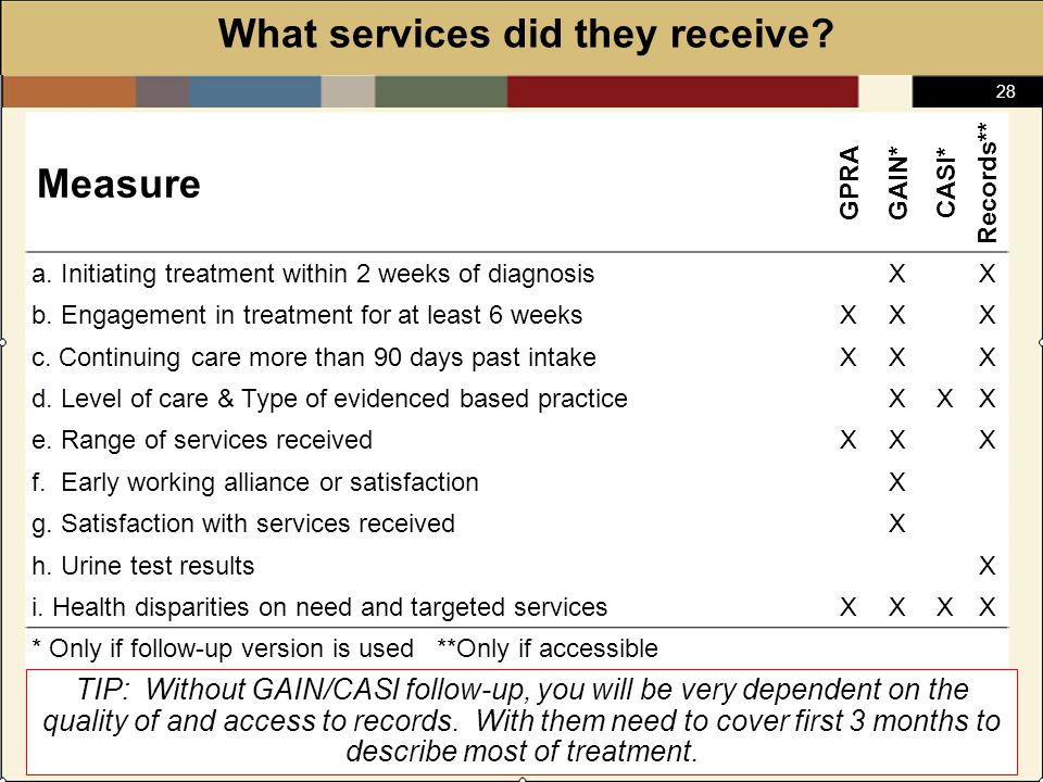 28 What services did they receive.Measure GPRAGAIN* CASI* Records** a.