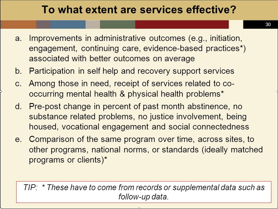 30 To what extent are services effective.