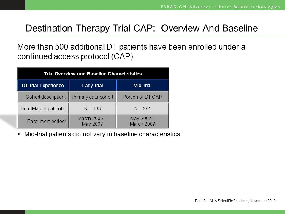 Destination Therapy Trial CAP: Overview And Baseline Park SJ.