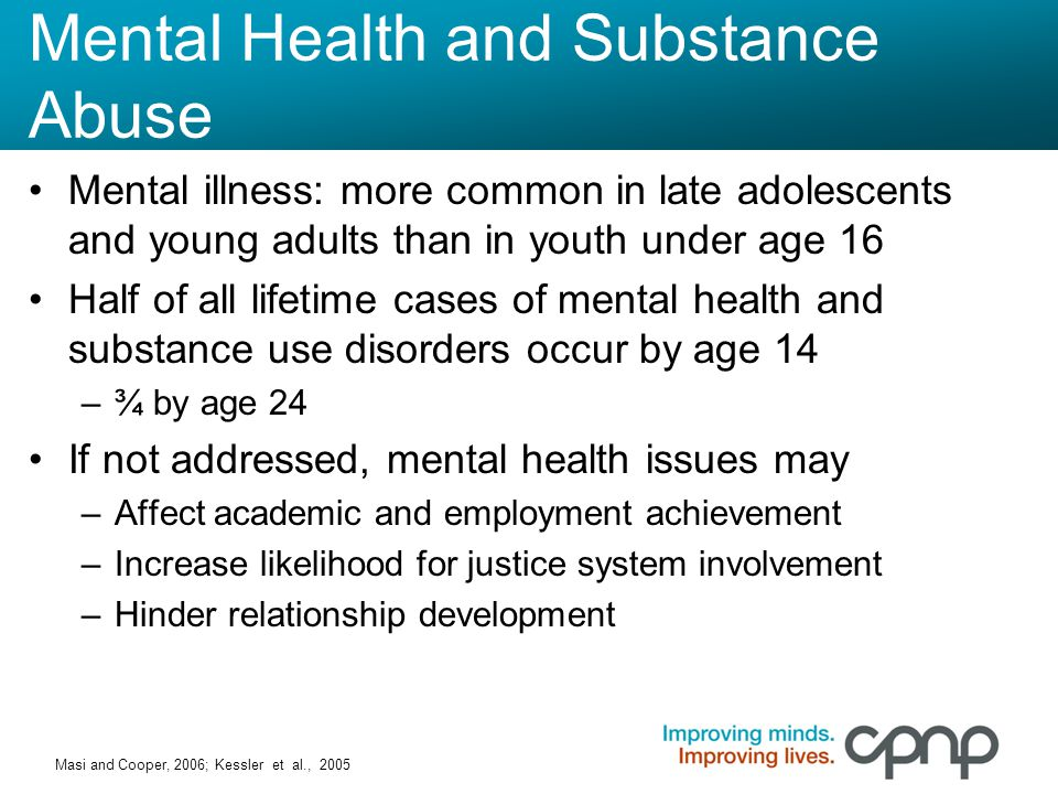 Mental Health by the Numbers In the past year: –1 in 10 teens ages 16-17 had a major depressive episode –1 in 5 young adults (18-25) had a mental illness –4% of young adults had a serious mental illness This group generally had poorer quality of life than persons without mental illness THE CBHSQ Report, May 2014 http://www.samhsa.gov