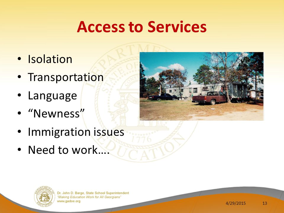 Access to Services Isolation Transportation Language Newness Immigration issues Need to work….