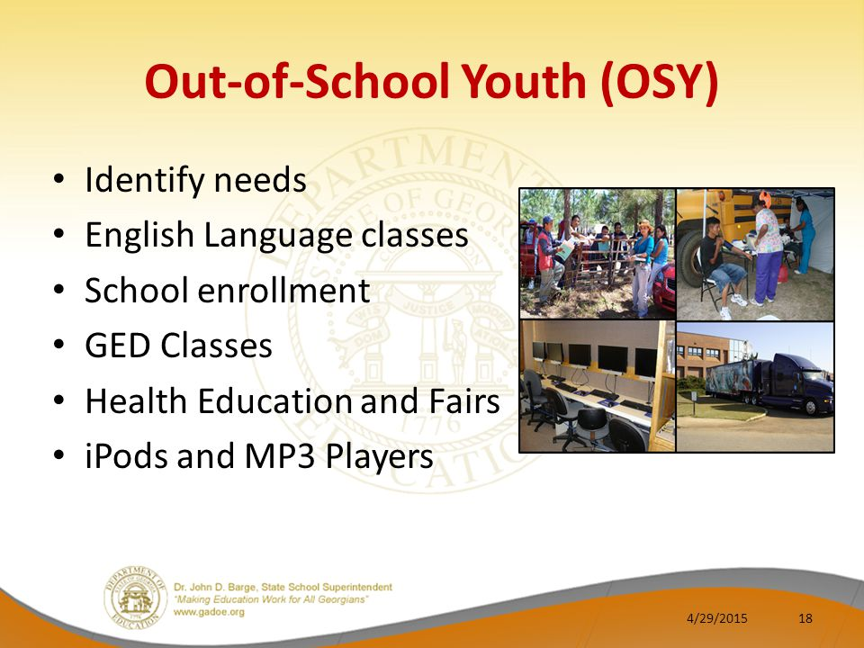 Out-of-School Youth (OSY) Identify needs English Language classes School enrollment GED Classes Health Education and Fairs iPods and MP3 Players 4/29/201518