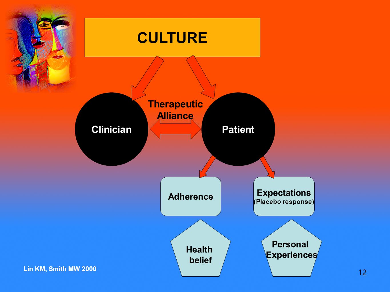 12 Expectations (Placebo response) ClinicianPatient Adherence CULTURE Therapeutic Alliance Health belief Personal Experiences Lin KM, Smith MW 2000