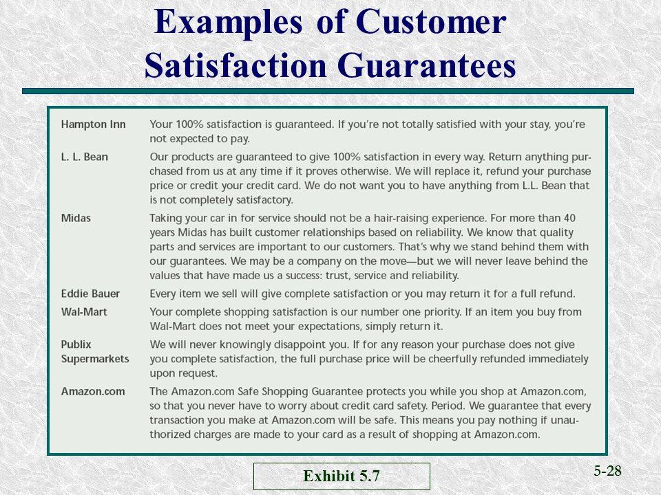 5-28 Examples of Customer Satisfaction Guarantees Exhibit 5.7