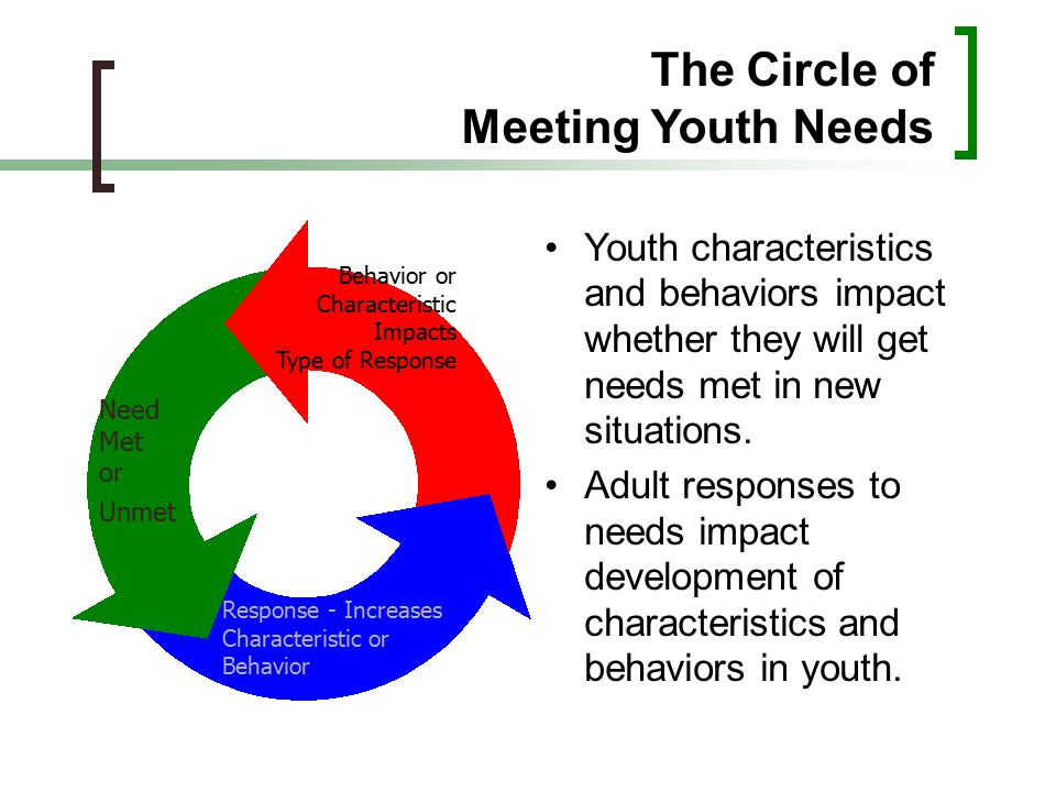 The Circle of Meeting Youth Needs Youth characteristics and behaviors impact whether they will get needs met in new situations. Adult responses to nee