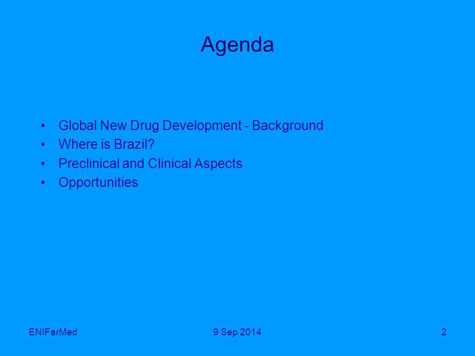 ENIFarMed2 Agenda Global New Drug Development - Background Where is Brazil.
