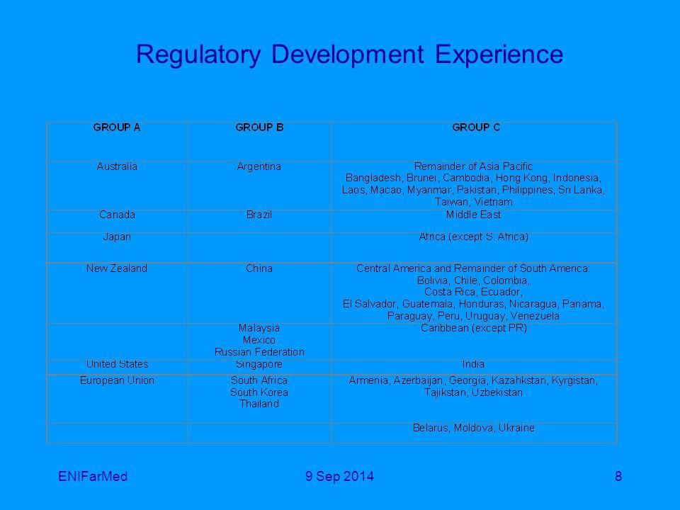 ENIFarMed8 Regulatory Development Experience 9 Sep 2014