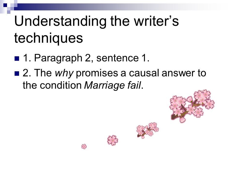 Understanding the writer's techniques 1. Paragraph 2, sentence 1.