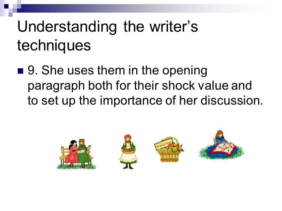 Understanding the writer's techniques 9.