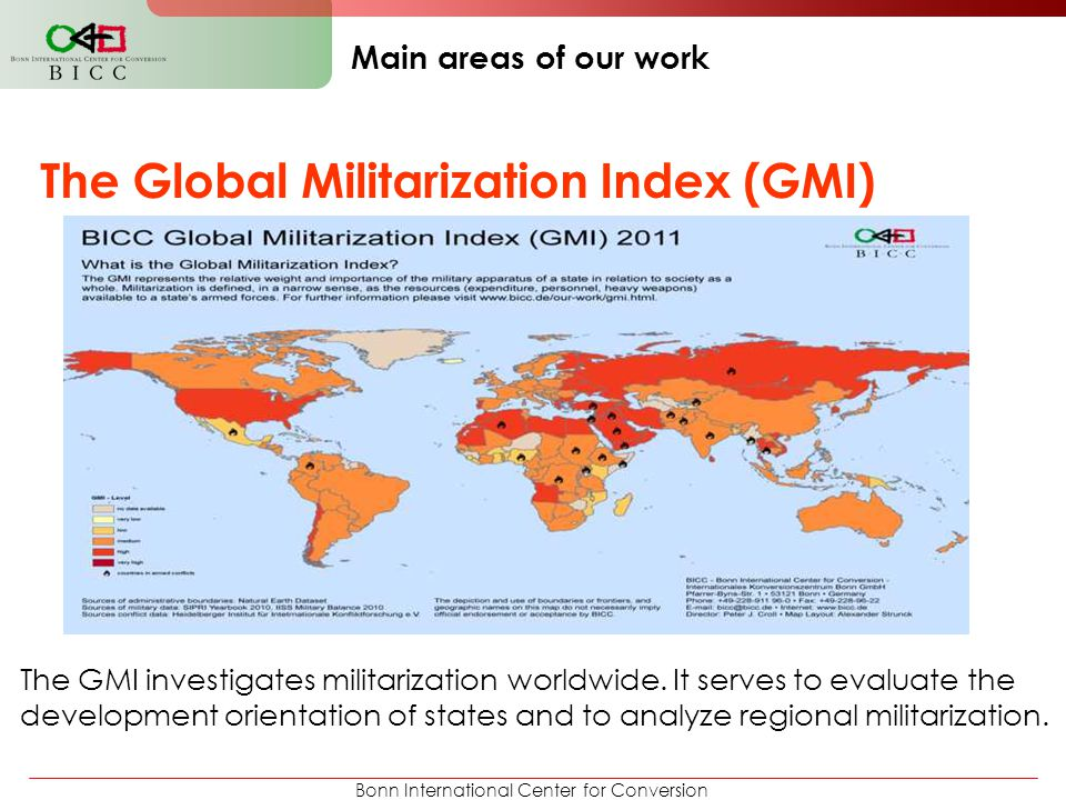 Bonn International Center for Conversion Main areas of our work The Global Militarization Index (GMI) The GMI investigates militarization worldwide. I