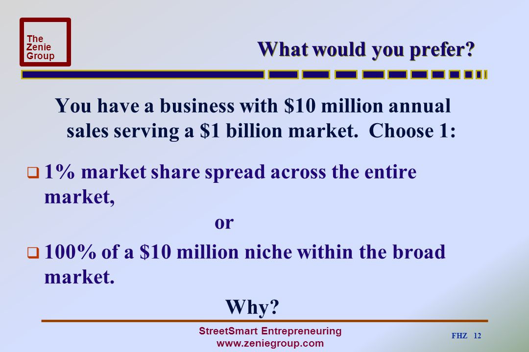 FHZ 12 The Zenie Group StreetSmart Entrepreneuring www.zeniegroup.com What would you prefer? You have a business with $10 million annual sales serving