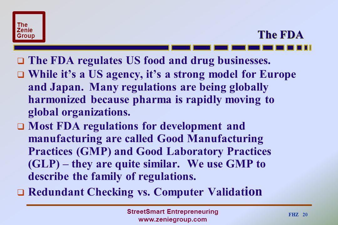 FHZ 20 The Zenie Group StreetSmart Entrepreneuring www.zeniegroup.com The FDA  The FDA regulates US food and drug businesses.