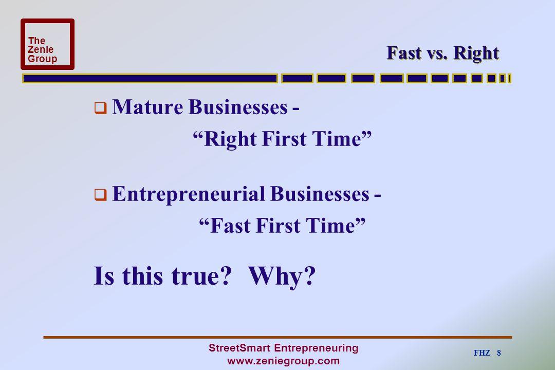 FHZ 8 The Zenie Group StreetSmart Entrepreneuring www.zeniegroup.com Fast vs.
