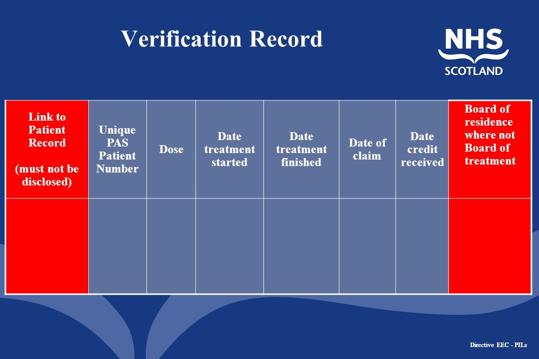 Directive EEC - PILs Verification Record Link to Patient Record (must not be disclosed) Unique PAS Patient Number Dose Date treatment started Date treatment finished Date of claim Date credit received Board of residence where not Board of treatment