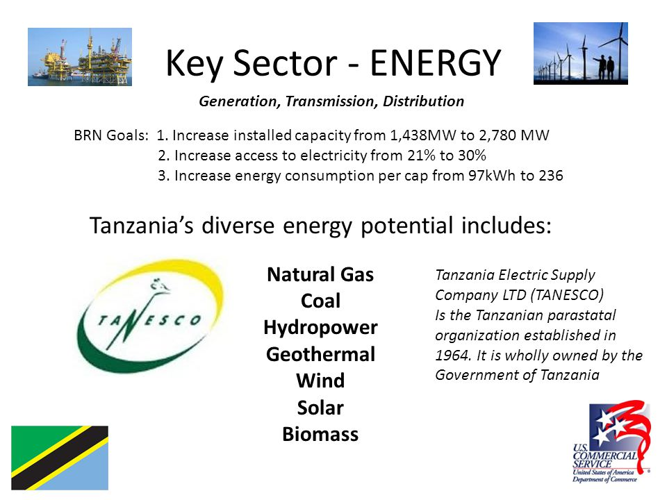 Key Sector - ENERGY Generation, Transmission, Distribution BRN Goals: 1.