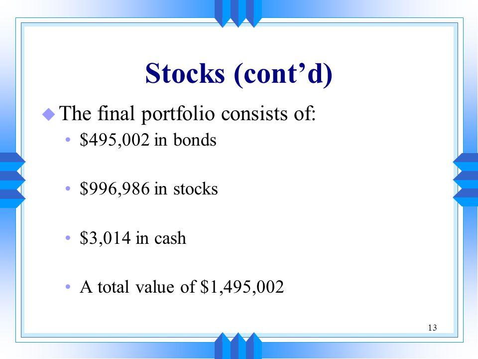 13 Stocks (cont'd) u The final portfolio consists of: $495,002 in bonds $996,986 in stocks $3,014 in cash A total value of $1,495,002