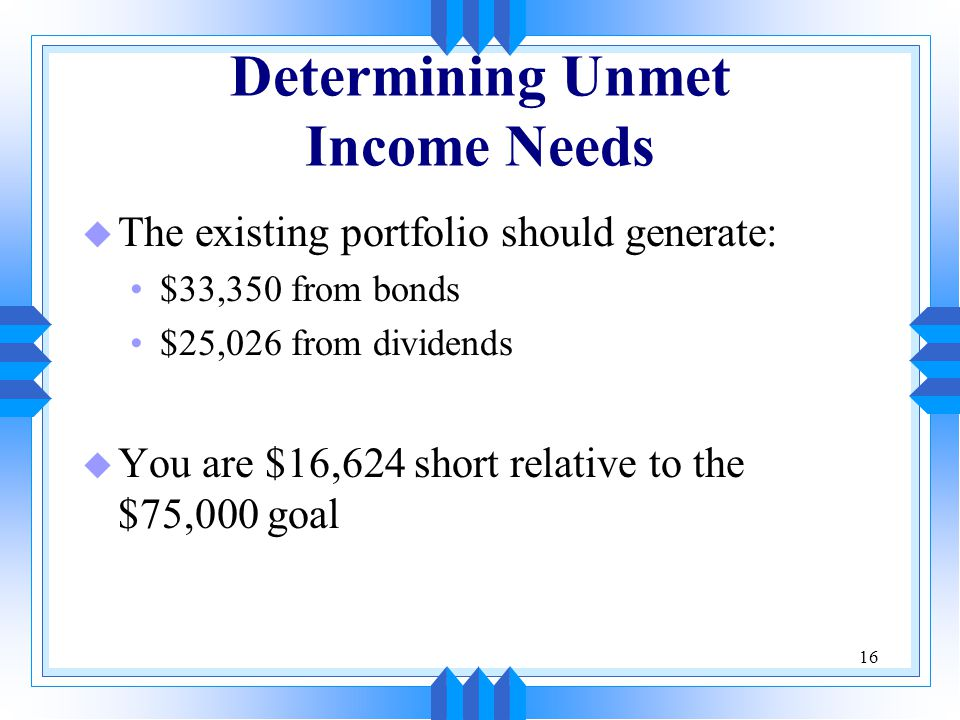 16 Determining Unmet Income Needs u The existing portfolio should generate: $33,350 from bonds $25,026 from dividends u You are $16,624 short relative to the $75,000 goal