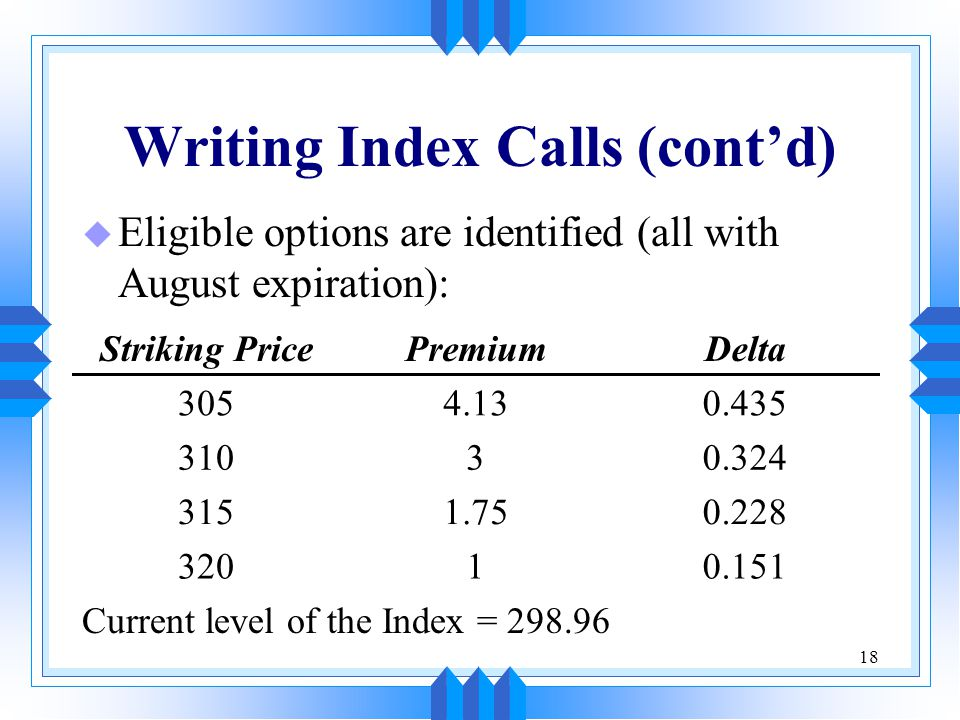 18 Writing Index Calls (cont'd) u Eligible options are identified (all with August expiration): Striking PricePremiumDelta 3054.130.435 31030.324 3151