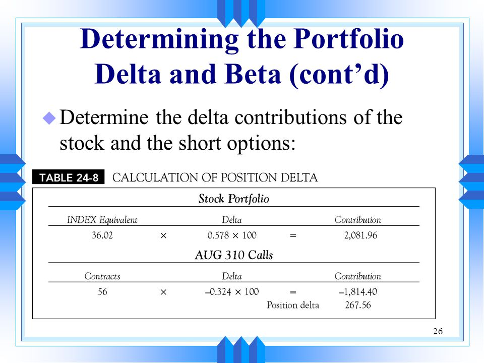 26 Determining the Portfolio Delta and Beta (cont'd) u Determine the delta contributions of the stock and the short options: