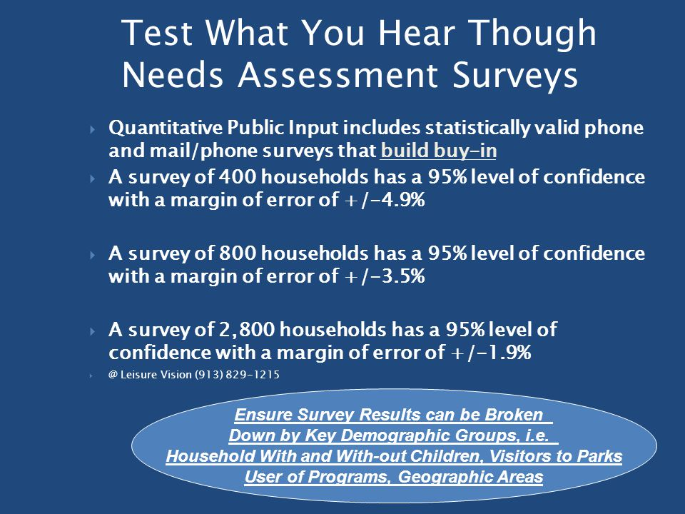 Test What You Hear Though Needs Assessment Surveys  Quantitative Public Input includes statistically valid phone and mail/phone surveys that build buy-in  A survey of 400 households has a 95% level of confidence with a margin of error of +/-4.9%  A survey of 800 households has a 95% level of confidence with a margin of error of +/-3.5%  A survey of 2,800 households has a 95% level of confidence with a margin of error of +/-1.9%  @ Leisure Vision (913) 829-1215 Ensure Survey Results can be Broken Down by Key Demographic Groups, i.e.