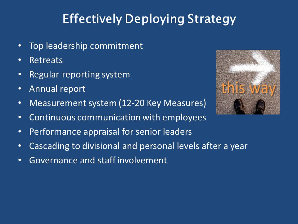 Effectively Deploying Strategy Top leadership commitment Retreats Regular reporting system Annual report Measurement system (12-20 Key Measures) Continuous communication with employees Performance appraisal for senior leaders Cascading to divisional and personal levels after a year Governance and staff involvement