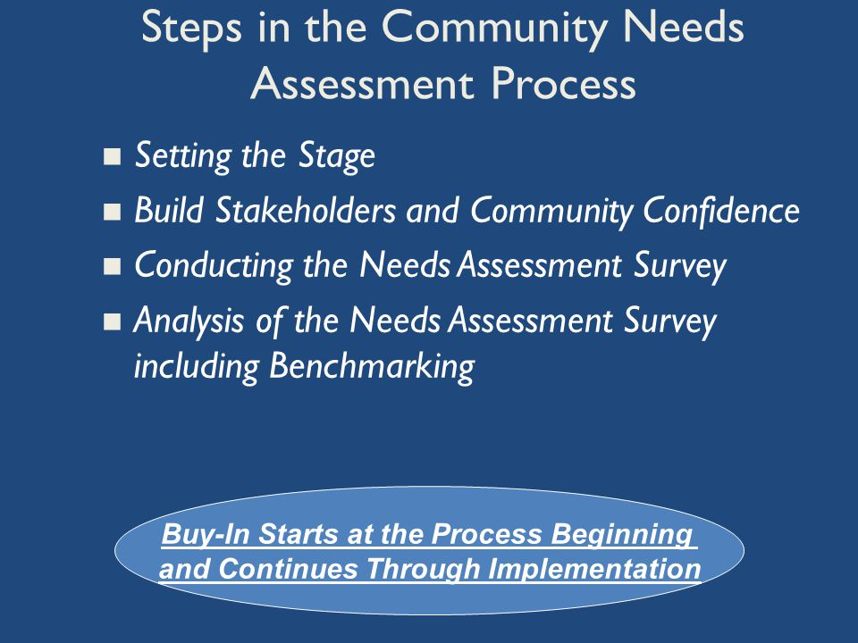 Set the Stage Be a Leader from the start Empower staff and community Build confidence in the integrity of needs assessment survey process