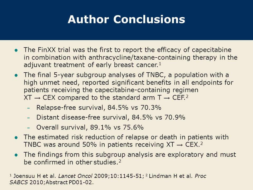 Author Conclusions The FinXX trial was the first to report the efficacy of capecitabine in combination with anthracycline/taxane-containing therapy in