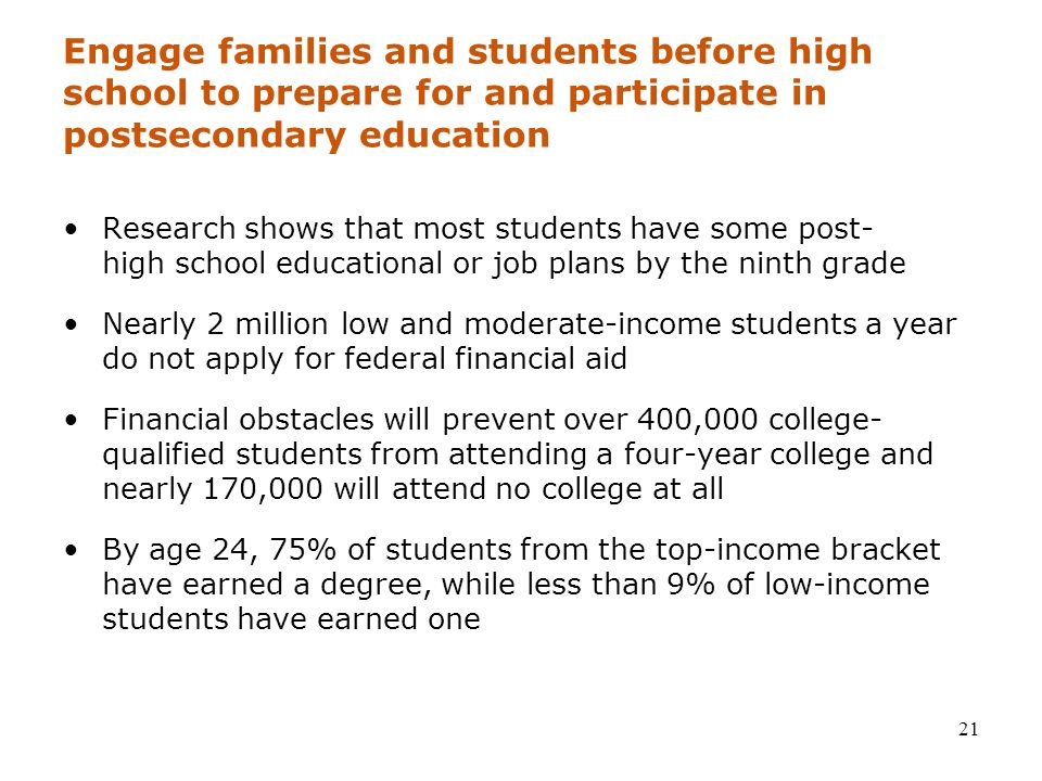 21 Engage families and students before high school to prepare for and participate in postsecondary education Research shows that most students have some post- high school educational or job plans by the ninth grade Nearly 2 million low and moderate-income students a year do not apply for federal financial aid Financial obstacles will prevent over 400,000 college- qualified students from attending a four-year college and nearly 170,000 will attend no college at all By age 24, 75% of students from the top-income bracket have earned a degree, while less than 9% of low-income students have earned one