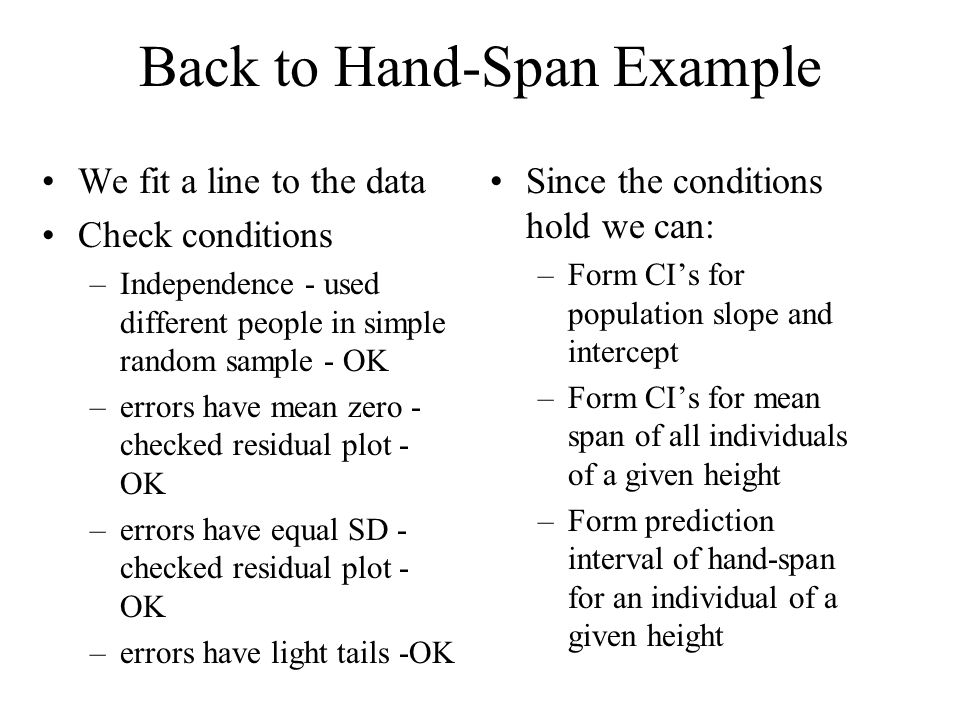 Back to Hand-Span Example We fit a line to the data Check conditions –Independence - used different people in simple random sample - OK –errors have mean zero - checked residual plot - OK –errors have equal SD - checked residual plot - OK –errors have light tails -OK Since the conditions hold we can: –Form CI's for population slope and intercept –Form CI's for mean span of all individuals of a given height –Form prediction interval of hand-span for an individual of a given height