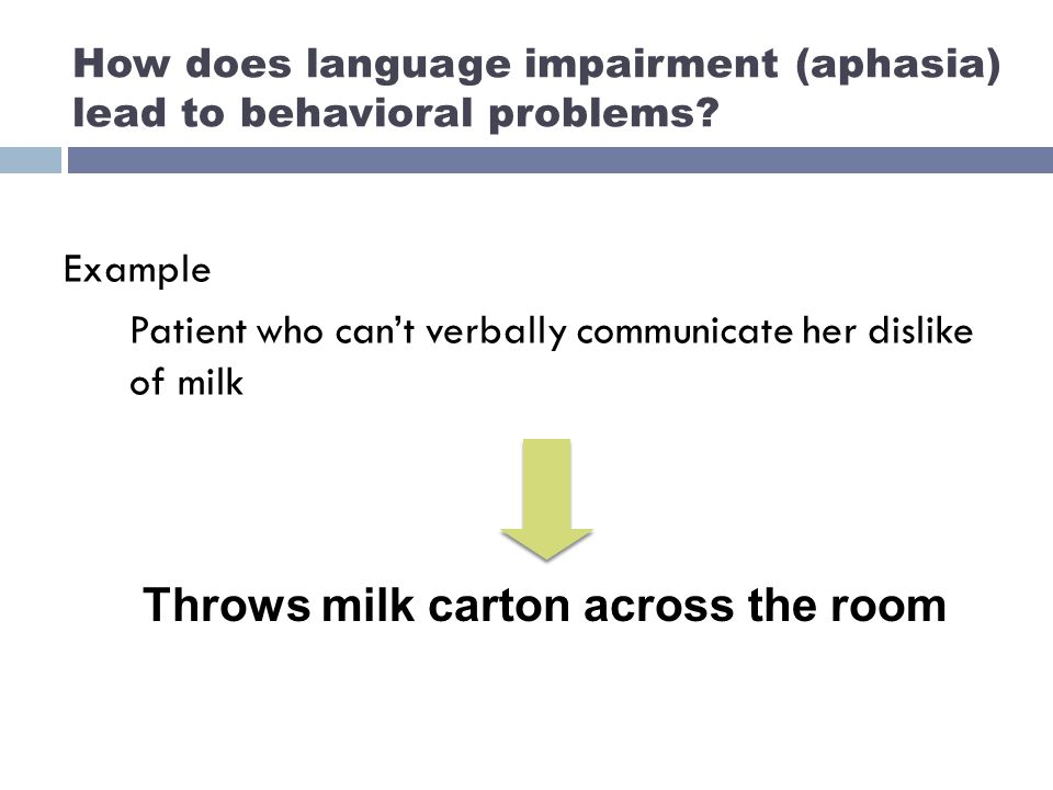 How does language impairment (aphasia) lead to behavioral problems.