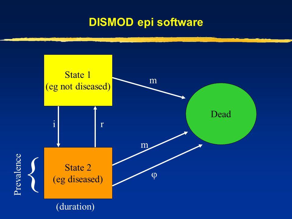 DISMOD epi software State 2 (eg diseased) Dead State 1 (eg not diseased) m  ir m (duration) { Prevalence
